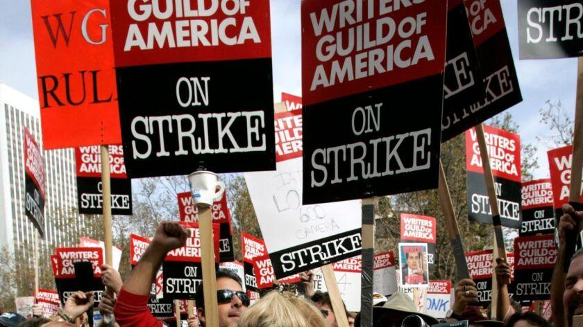 Boster, Mark –– – 130426.FI.1109.strike.MJB–(Century City)– Nearly 4,000 WGA members and supporters