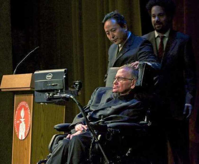 Stephen Hawking at Caltech in Pasadena.