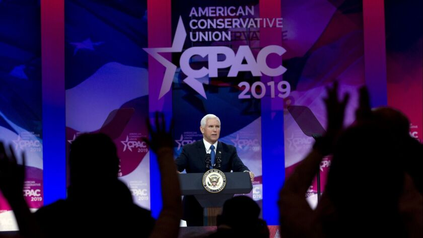 Vice President Mike Pence speaks at Conservative Political Action Conference, CPAC 2019, in Oxon Hil