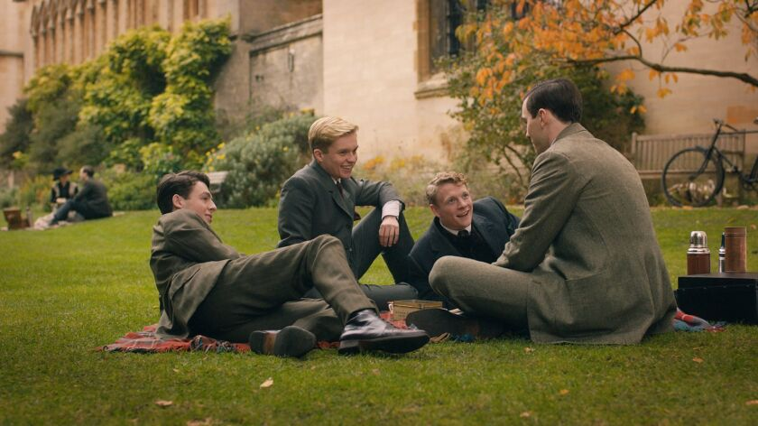 (From L-R): Anthony Boyle, Tom Glynn-Carney, Patrick Gibson and Nicholas Hoult in the film TOLKIEN.
