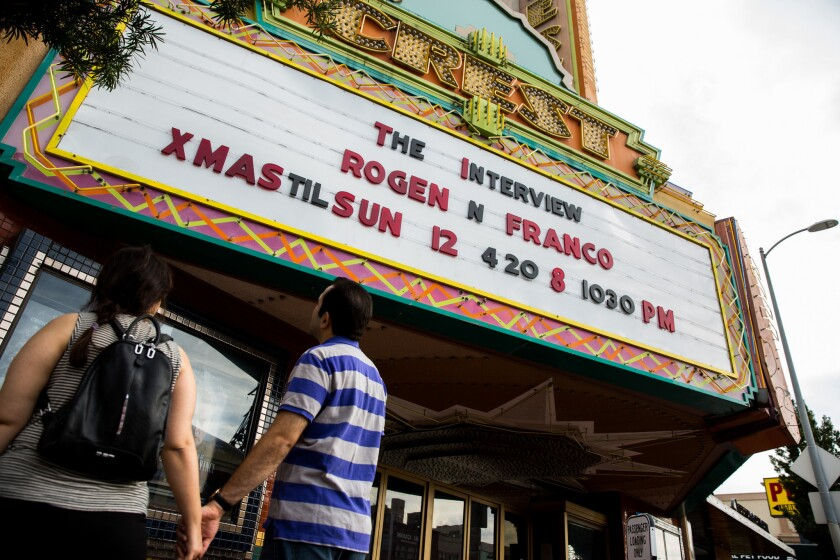 "The Crest movie theater in Westwood displays Sony Pictures' ""The Interview"" on its marquee on Christmas Eve."