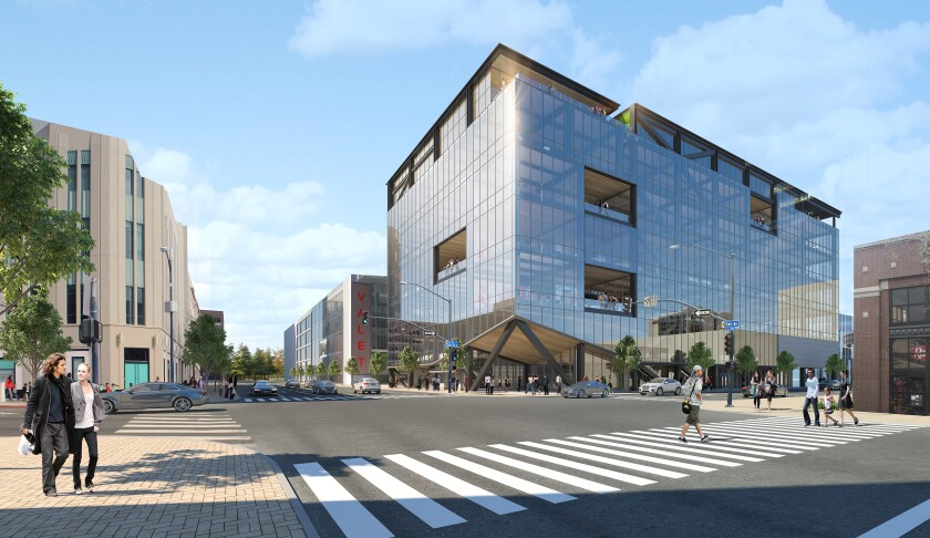 A rendering of the exterior of the transformed Nordstrom building at The Campus at Horton, as seen from 1st Avenue and G Street. The developer says it can add four stories to the structure without having to tear anything down.