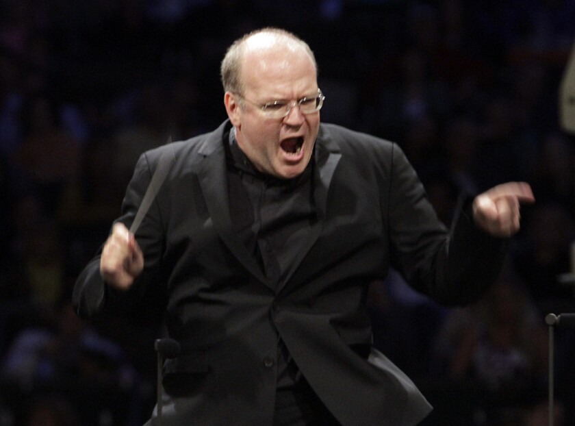 Bernard Labadie conducts the Los Angeles Philharmonic at the Hollywood Bowl on July 30, 2013.