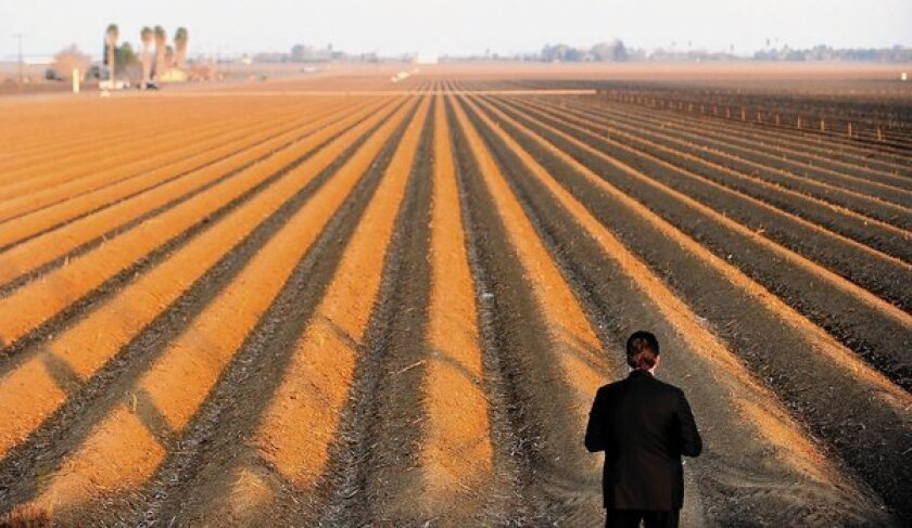 A Secret Service agent looks over a parched field as President Obama visited the region to discuss California's drought.