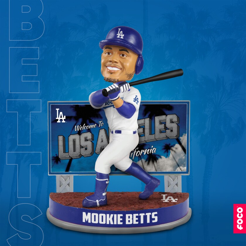 "FOCO, the official manuffacturer of MLB bobbleheads, has unveiled the ""Mookie Betts Welcome to Los Angeles Billboard"" bobblehead which is set to release this June."