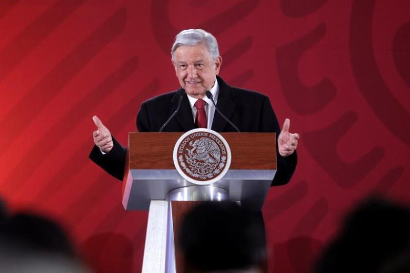 El presidente de México, Andrés Manuel López Obrador, habla durante su rueda de prensa. EFE/Archivo