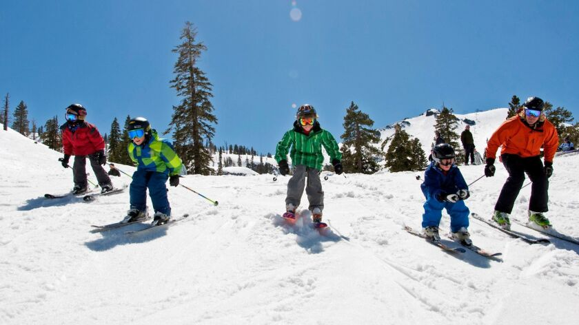SQUAW VALLEY: Children learning and practicing on the snow.