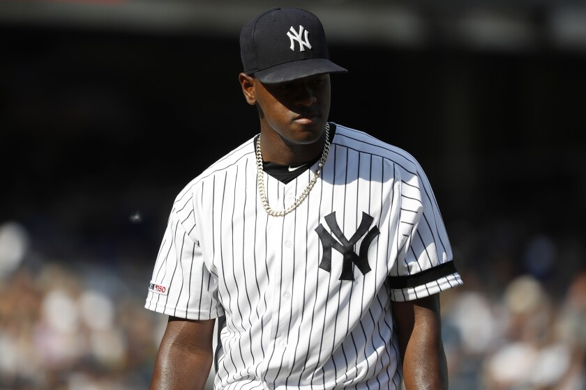New York Yankees starting pitcher Luis Severino walks back to the dugout during the fifth inning against the Toronto Blue Jays of a baseball game, Sunday, Sept. 22, 2019, in New York. (AP Photo/Michael Owens)