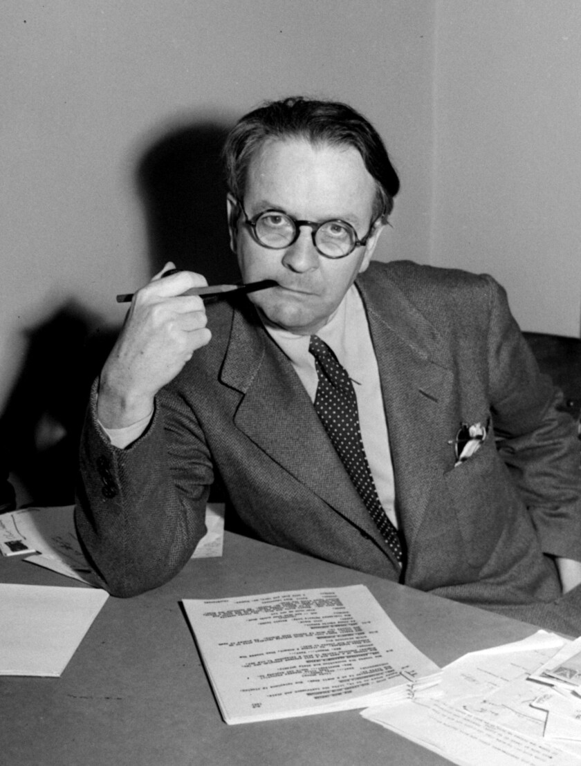 Mystery novelist and screenwriter Raymond Chandler, shown in a 1946 portrait, created private eye Ph