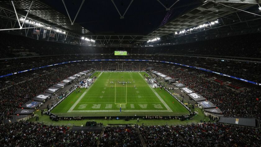 A general view of Wembley Stadium during a week 6 NFL football game between the Oakland Raiders and