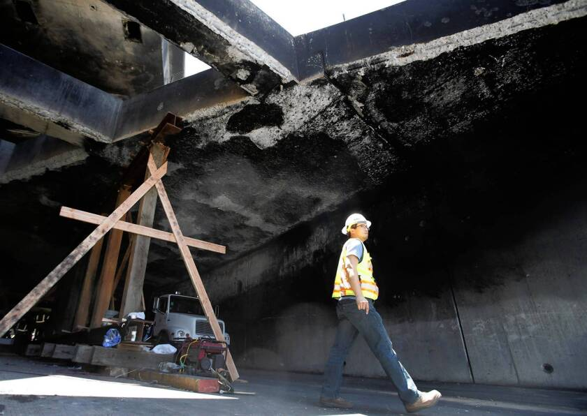Workers are racing to shore up a tunnel under the 5 Freeway north of downtown so all the freeway lanes can reopen. The tunnel, part of the connecter between the 2 and the 5 freeways, could be closed for months because of damage from a fiery tanker crash.