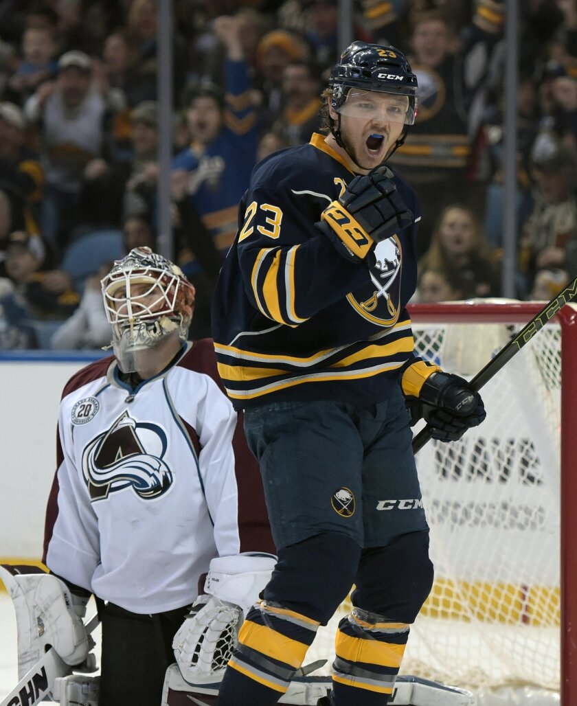 Colorado Avalanche goaltender Calvin Pickard, left, reacts after giving up a goal to Buffalo Sabres center Sam Reinhart (23) during the first period of an NHL hockey game, Sunday, Feb. 14, 2016, in Buffalo, N.Y. (AP Photo/Gary Wiepert)