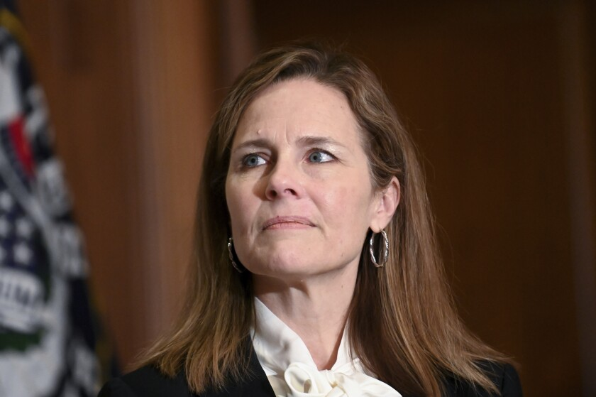 Supreme Court nominee Judge Amy Coney Barrett is shown on Capitol Hill in Washington, D.C., on Oct. 1.