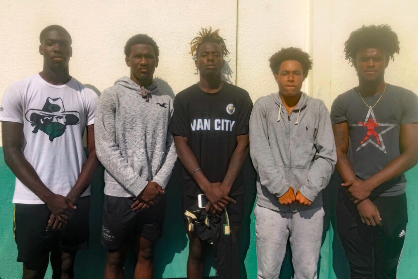 Narbonne's outstanding group of receivers include Elijah Queen, left, Joshua Jackson, Kobe Stewart, Eren East and Traeshon Holden.