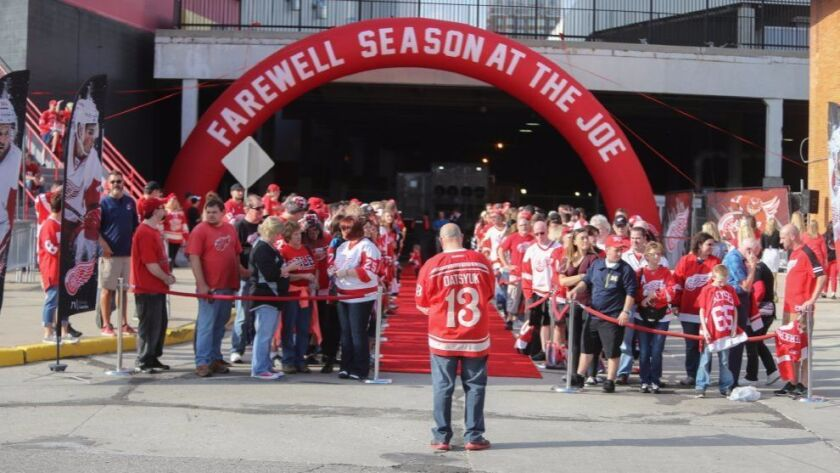 An Oct. 17 photo shows Red Wings fans waiting for players to arrive for the final home opener at Joe Louis Arena.