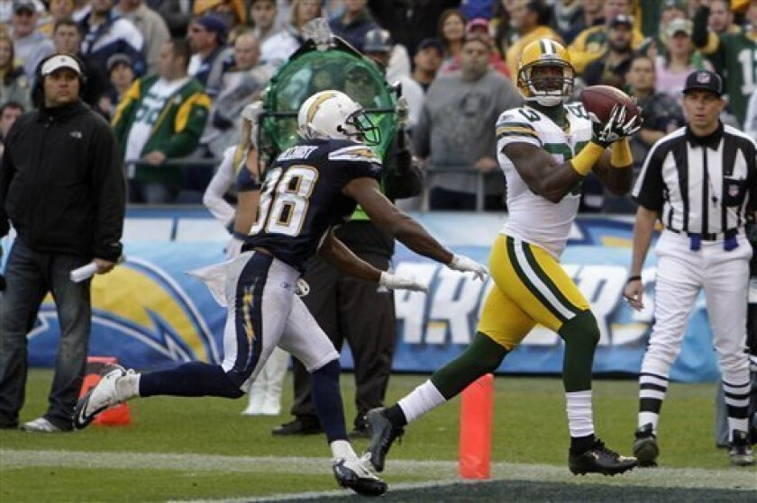 Green Bay Packers wide receiver James Jones makes a touchdown catch in the end zone as San Diego Chargers cornerback Marcus Gilchrist, left, can't catch him in the third quarter of an NFL football game, Sunday, Nov. 6, 2011, in San Diego. (AP Photo/Lenny Ignelzi)