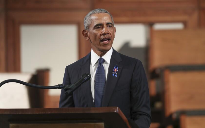 El expresidente Barack Obama habla en el funeral del legislador John Lewis en la Ebenezer Baptist Church