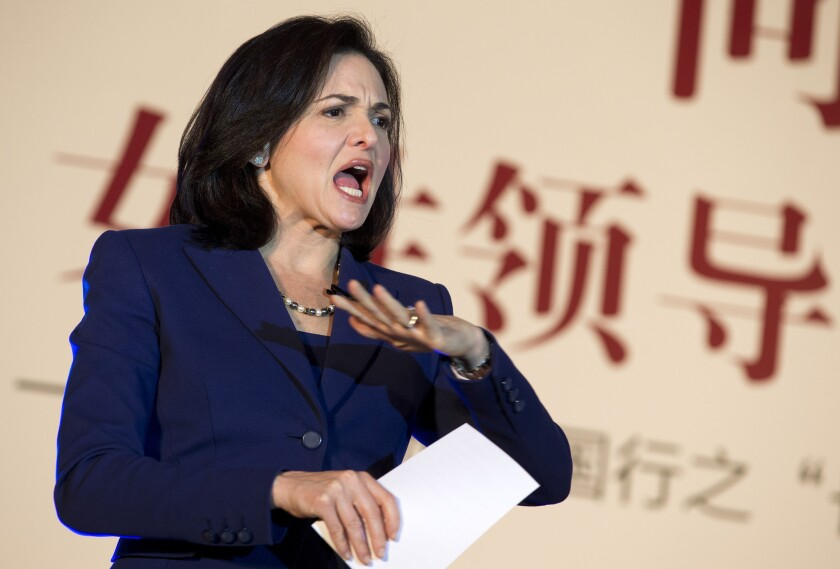 "Facebook Chief Operating Officer Sheryl Sandberg, shown delivering a speech in Beijing in 2013, has spearheaded a campaign to ban the word ""bossy"" as a description of girls."