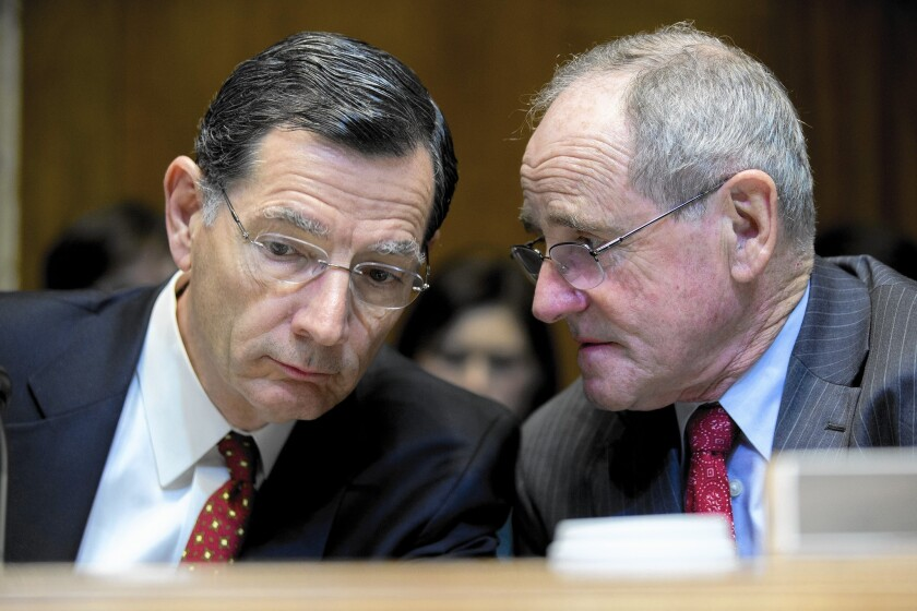"Sen. John Barrasso (R-Wyo.), left, says if the Supreme Court agrees to take away health insurance tax subsidies, it ""will force the president to negotiate with Republicans on a transition and a replacement"" for Obamacare."