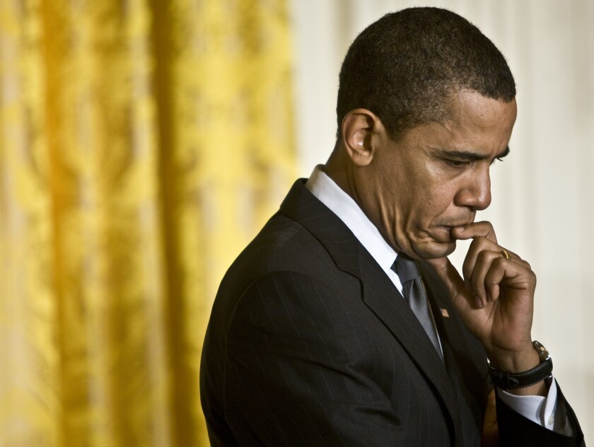 President Obama is seen 2009 during a discussion about implementing the American Recovery and Reinvestment Act.