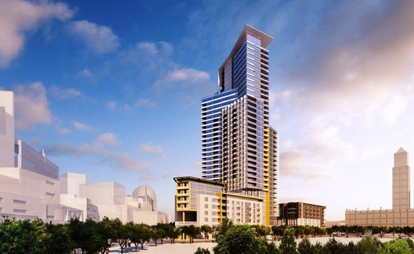 A 37-story condo or apartment tower would dominate the Ballpark Village project approved for the block bounded by Park Boulevard and Imperial and 12th avenues.