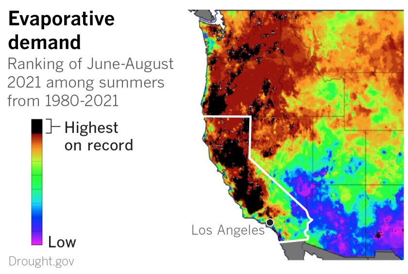Maps of the American West show a large portion of the region with summer evaporation demand among the highest ever
