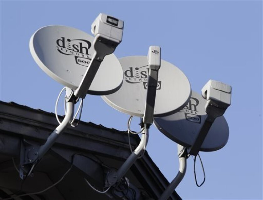 FILE - Three Dish Network satellite dishes are shown at an apartment complex in Palo Alto, Calif., in this Feb. 23, 2011 file photo. Dish Network is offering to buy Sprint Nextel Corp. in a cash-and-stock deal it values at $25.5 billion, saying its bid is superior to that of Japanese phone company SoftBank. (AP Photo/Paul Sakuma, File)