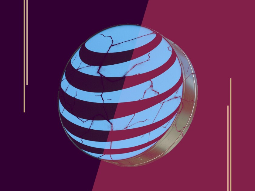 photo illustration of the AT&T logo with cracks