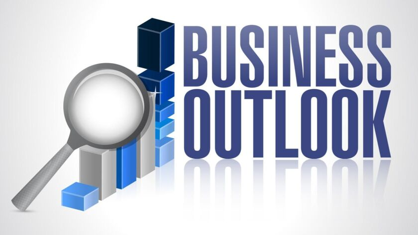 business outlook business graph and magnify
