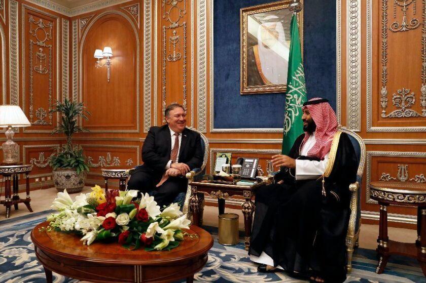 Secretary of State Pompeo meets with the Saudi Crown Prince Mohammed bin Salman in Riyadh, Saudi Arabia, over the disappearance and alleged slaying of writer Jamal Khashoggi in Turkey.