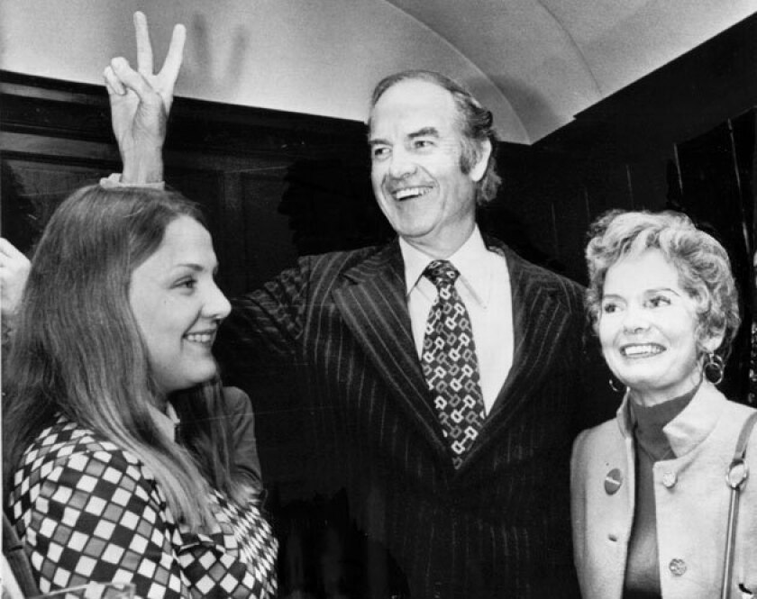 George McGovern with his daughter Terry, left, and wife Eleanor after he won the Massachusetts Democratic presidential primary in 1972.
