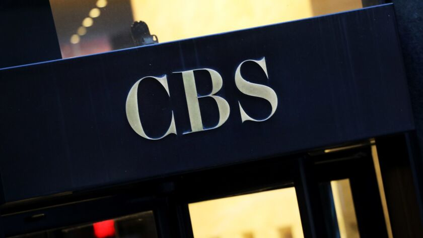 FILE - This Thursday, Dec. 6, 2018, file photo shows the CBS logo at the entrance to its headquarter