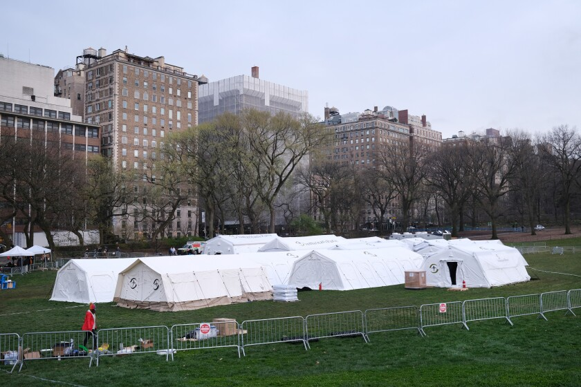 A field hospital has been erected in Central Park to help battle the coronavirus pandemic in New York City.