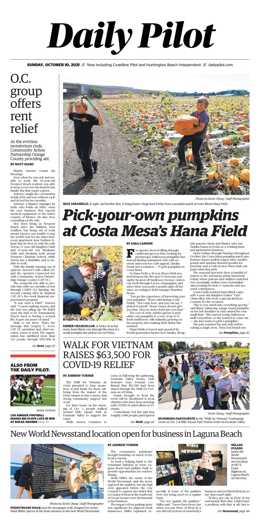 Front page of Daily Pilot e-newspaper for Sunday, Oct. 10, 2021.