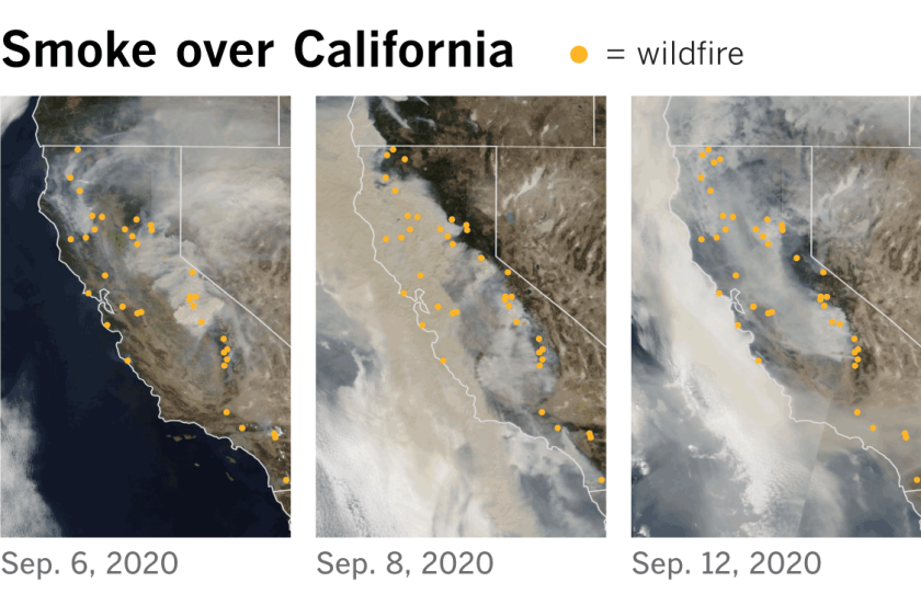 Satellite images show the smoke plumes that rose above California on Sept. 6 and blanketed the state by the 12th.