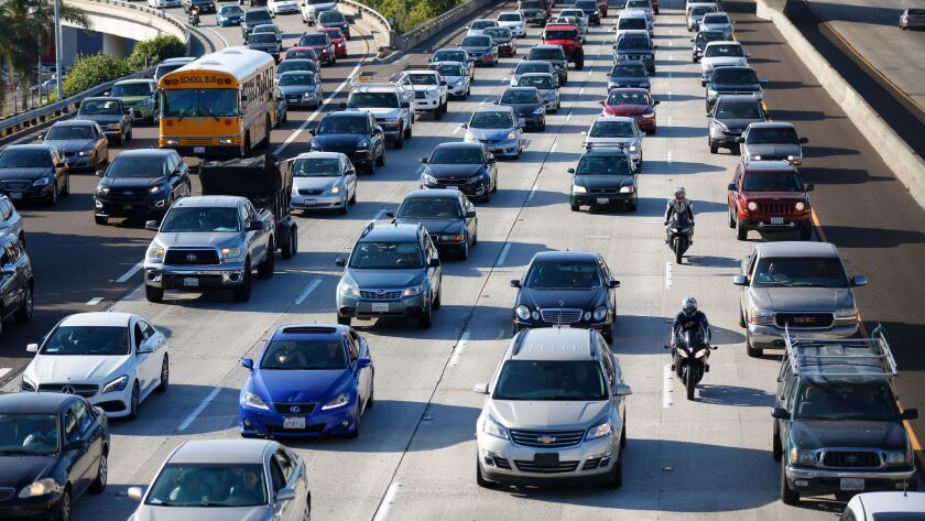 Caltrans says the ramp from westbound Interstate 8 to Morena Boulevard will be closed for a month. This 2017 file photo depicts heavy traffic on a San Diego freeway.