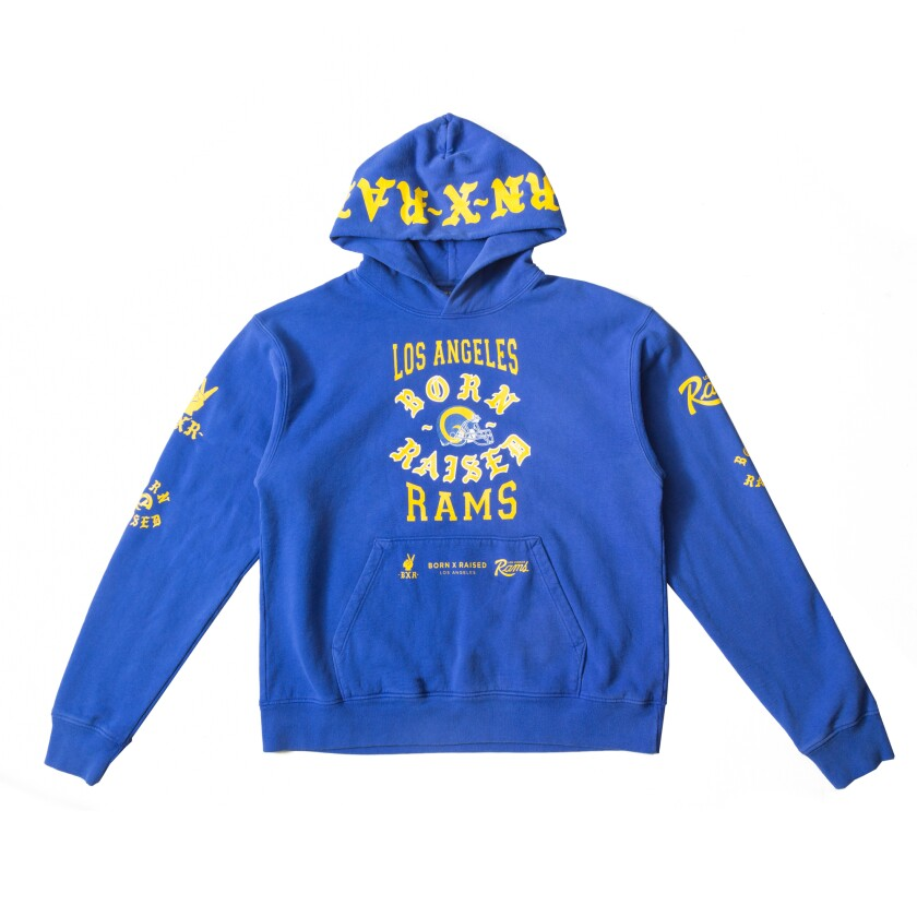The Born X Raised and Los Angeles Rams collaboration included this hoodie.