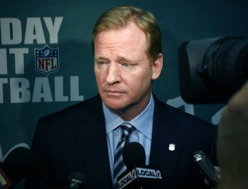 NFL commissioner Roger Goodell, talks during an interview before a program promoting the Monday night football game against the Pittsburgh Steelers, Monday, Nov. 8, 2010 in Cincinnati. Goodell says active NFL players won't be deciding punishment for flagrant hits that merit fines. He is open to listening to them, though, and says his meeting last week with Pittsburgh's James Harrison was meant to get his opinions on the league's crackdown. (AP Photo/David Kohl)