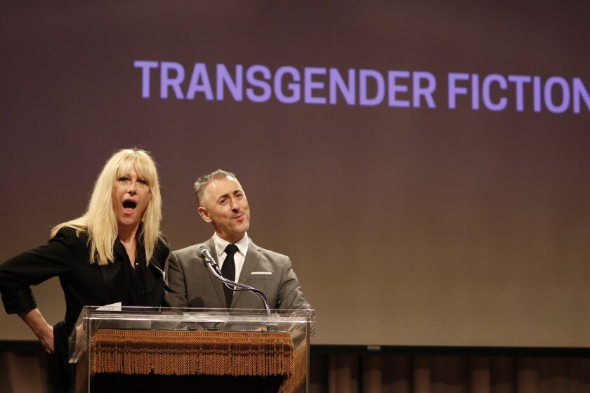 Justin Vivian Bond, left, and Alan Cumming announce the prize for transgender fiction at the Lambda Literary Awards in New York on June 1.