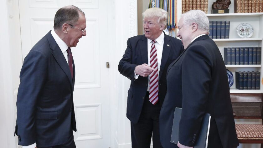 Russia's Foreign Minister Sergei Lavrov, from left, President Trump and Russian Ambassador to the U.
