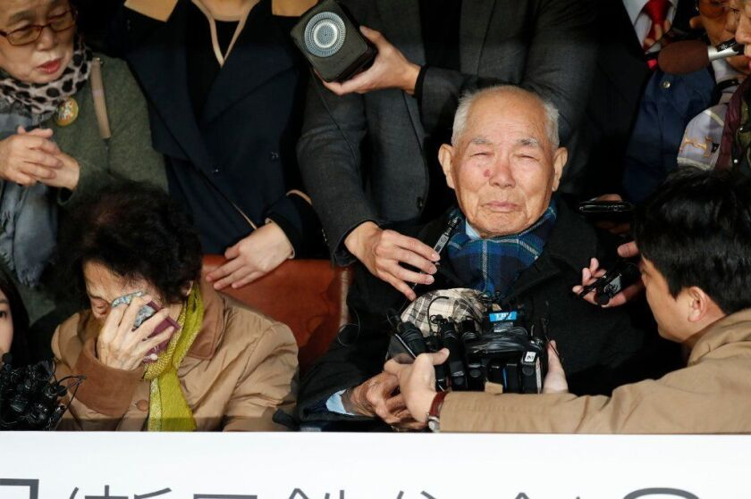 Lee Chun-sik, 94, after a court ruled that a Japanese steelmaker must compensate him for forced labor during WWII.