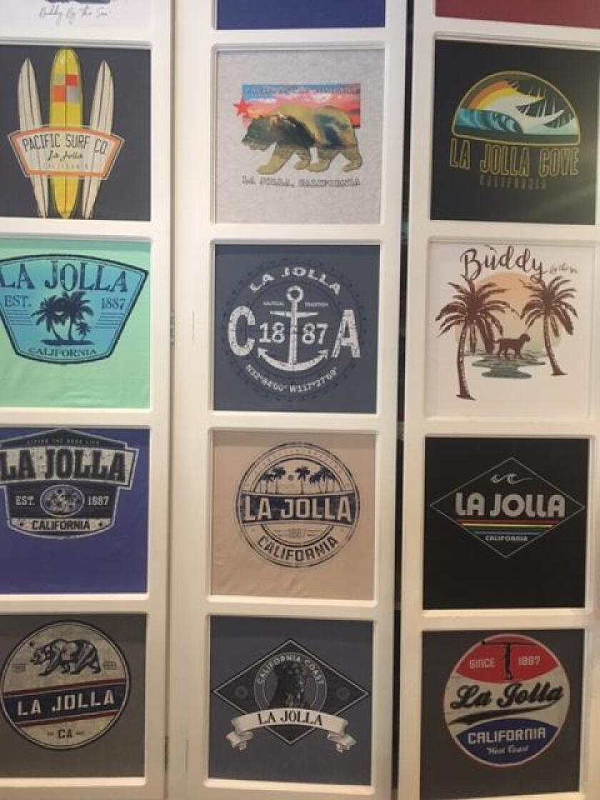 Many T-shirt designs with 'La Jolla'-inspired logos are available at Blue Apparel, 1237 Prospect St., Suite M, La Jolla. (858) 454-2583. blueapparel.com