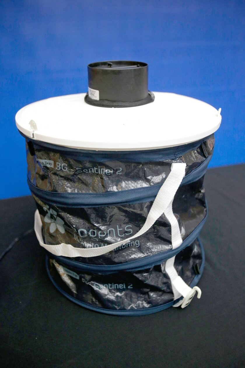 A mosquito trap is seen on display during a news conference led by Florida Commissioner of Agriculture Adam Putnam while he discussed testing for the Zika virus at the Bronson Animal Disease Diagnostic Laboratory,Thursday, May 26, 2016, in Kissimmee, Fla. (AP Photo/John Raoux)