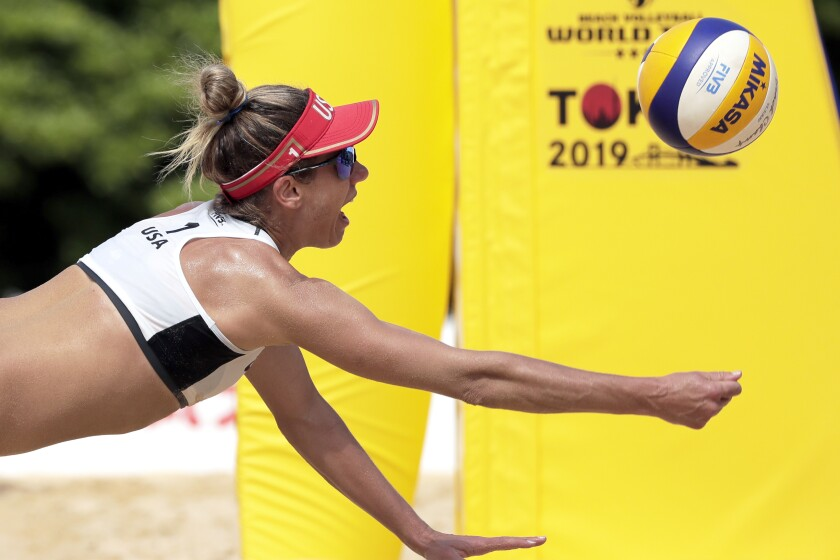 April Ross competes in the FIVB Beach Volleyball World Tour Tokyo on July 27.
