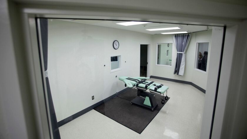 California officials have proposed a new method of lethal injection, but the drugs are difficult to obtain. Above, the lethal injection chamber at San Quentin, seen in 2010.
