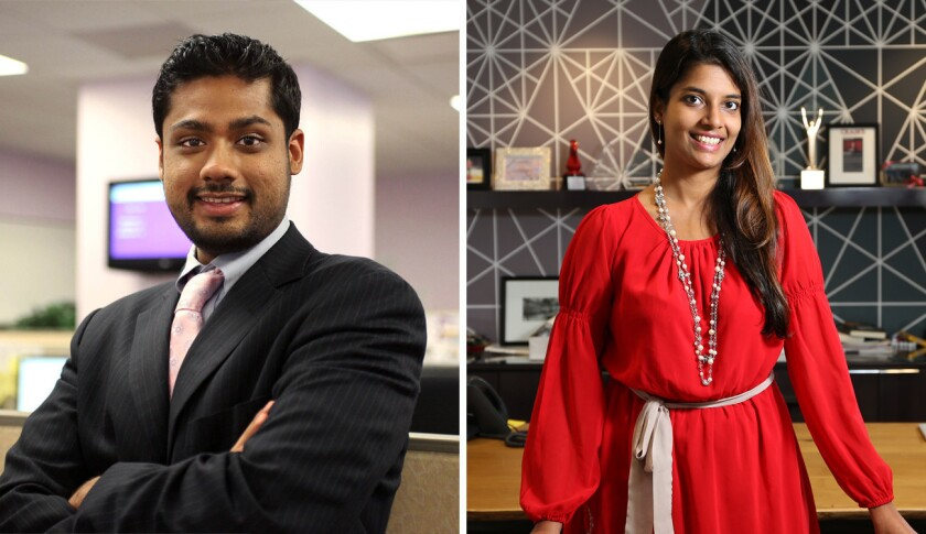 The former leaders of Outcome Health, Rishi Shah, left, and Shradha Agarwal, have resigned from the Chicago-based company's board.