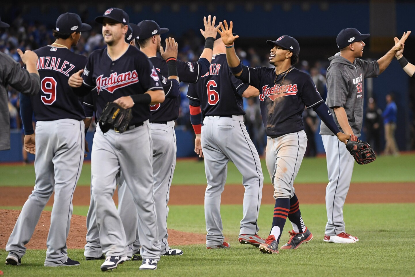 Oct 17, 2016; Toronto, Ontario, CAN; Cleveland Indians players celebrate after game three of the 2016 ALCS playoff baseball series against the Toronto Blue Jays at Rogers Centre. Mandatory Credit: Nick Turchiaro-USA TODAY Sports ** Usable by SD ONLY **