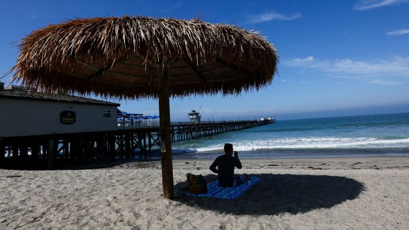 SAN CLEMENTE,CA, MAY 23, 2017: The warnings being given to surfers, swimmers and beachgoers at San