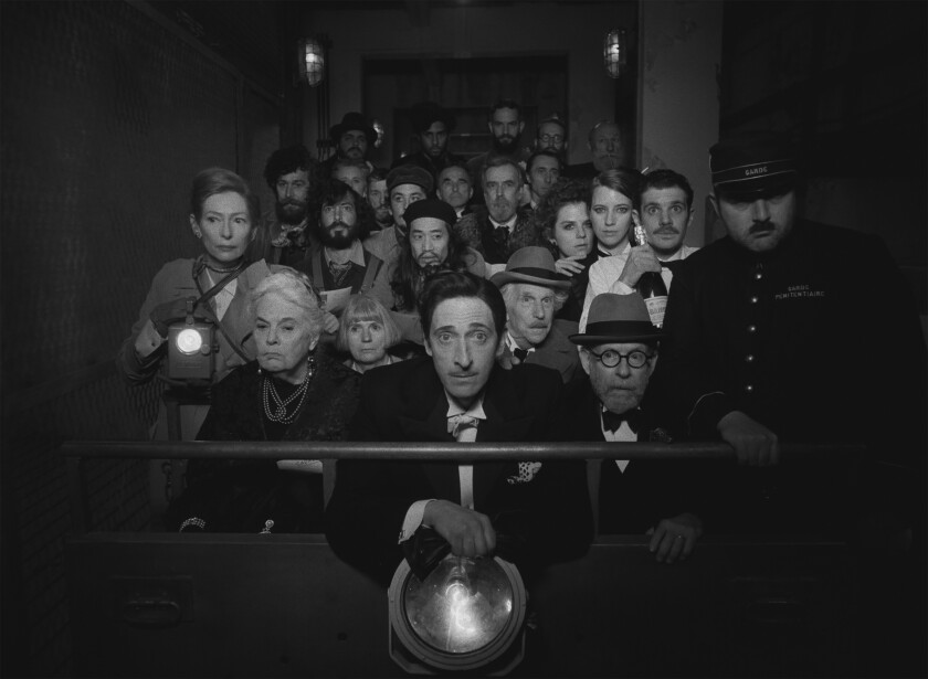 Tilda Swinton, Lois Smith, Adrien Brody, Henry Winkler and Bob Balaban in the film THE FRENCH DISPATCH.