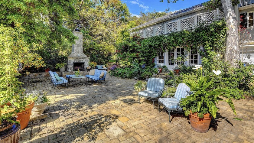 The longtime Brentwood estate of film director Jerry Zucker centers on a Traditional-style home designed by John Byers and built in 1939. White House interior designer Michael S. Smith was commissioned to expand the home to its current size of 10,000 square feet.